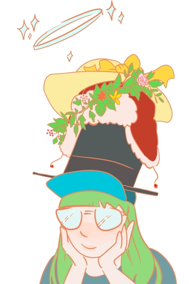 Cartoon image of myself wearing six coloured hats