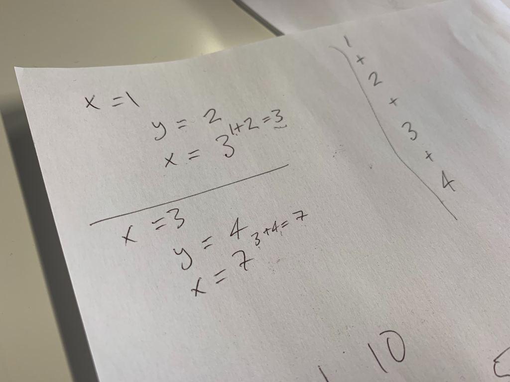 Image showing some workings. It reads Loop 1: x = 1 y = 2 (1 + 2 = 3) x = 3 Loop 2: x = 3 y = 4 (3 + 4 = 7) x = 7