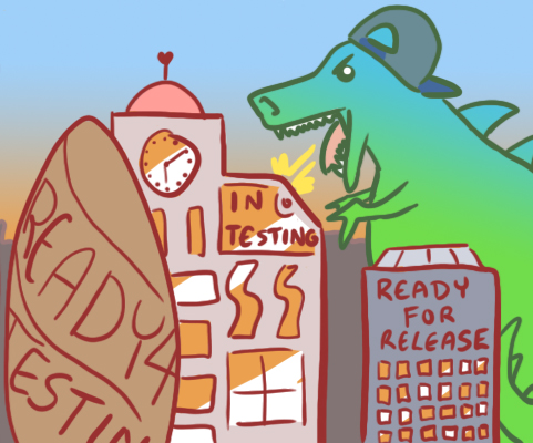 """A giant dinosaur with a snapback cap attacking a city with buildings that have """"Ready 4 testing"""" and """"In Testing"""" written on them."""