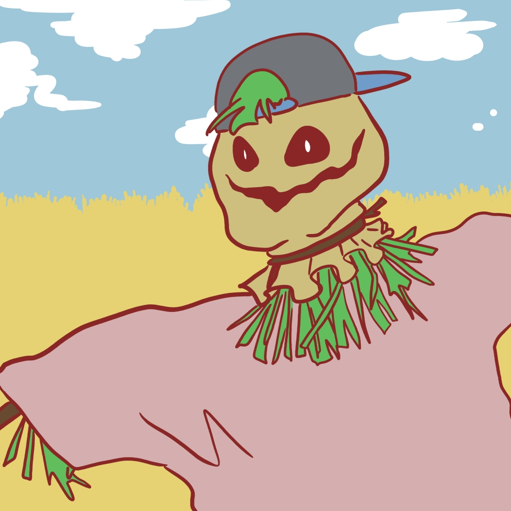 A scarecrow in a snapback cap and a pink t-shirt