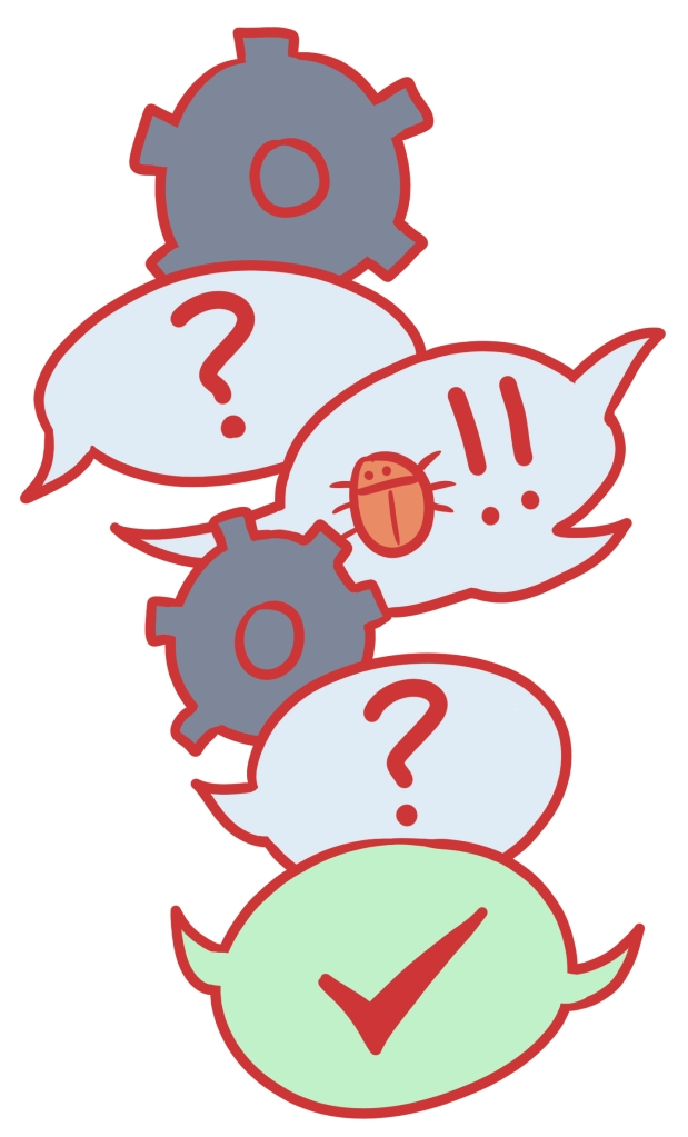 Image shows speech bubbles depicting a conversation between engineers.