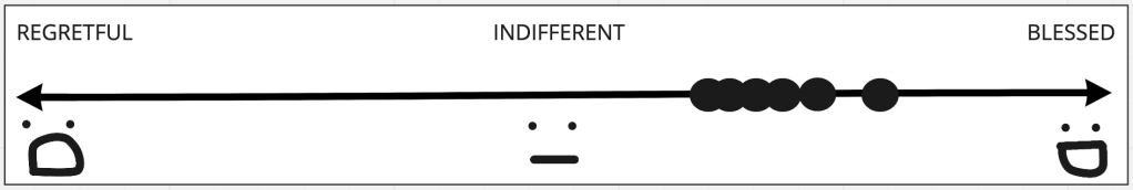 Image shows a slider ranging from 'Regretful' to 'Indifferent' to 'Blessed', with a series of votes for how people in the team feel. All are between 'Indifferent' and 'Blessed'.