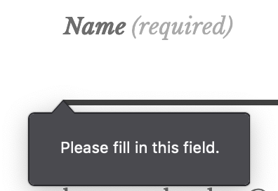 "Image shows an empty ""Name"" field with a message saying ""Please fill this field."""