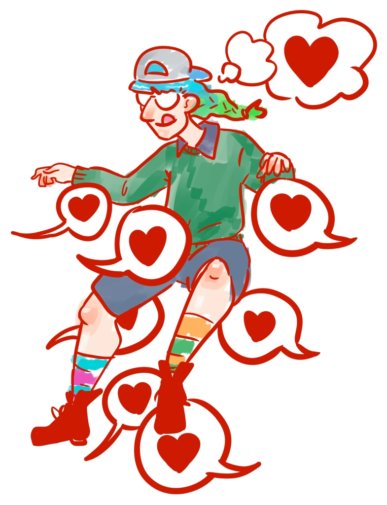 Illustration of me floating on a bunch of speech bubbles with hearts inside