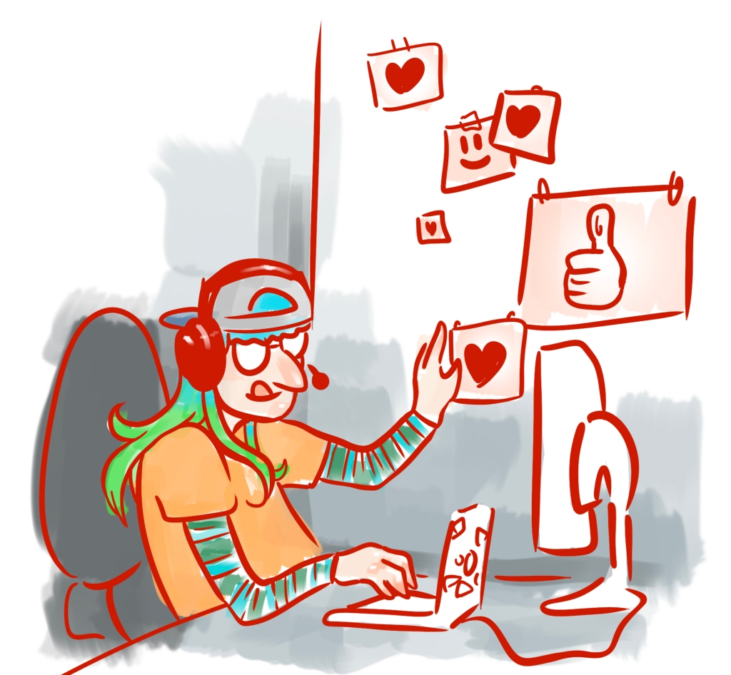 Illustration of me at my desk, affectionately touching a wall of hearts