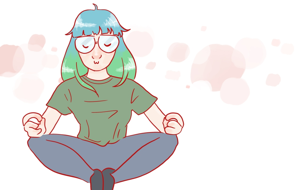 Decorative image of me meditating and looking calm and happy