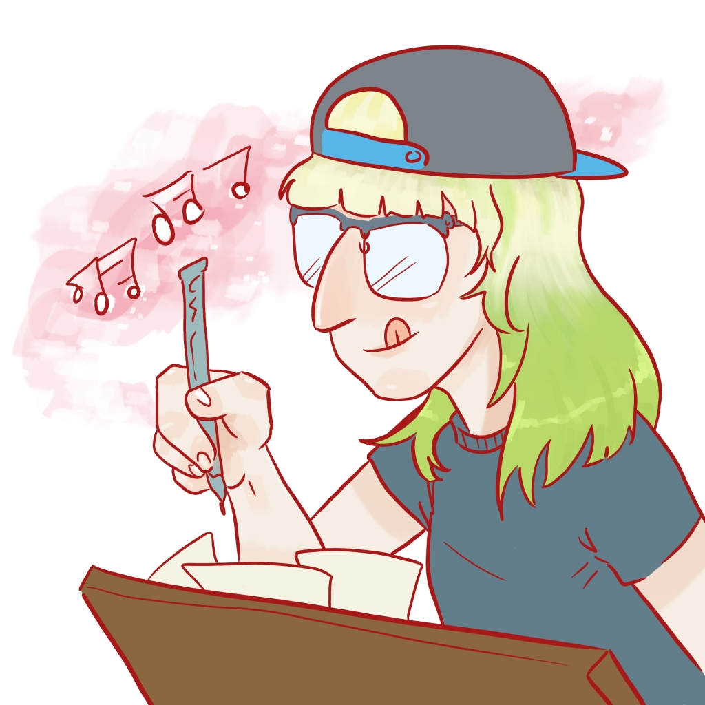 Drawing of me writing a song