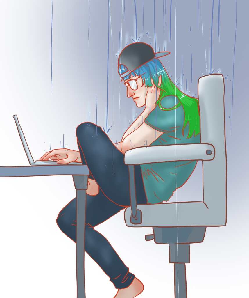 Illustration of me sitting at my desk as rain falls on my head