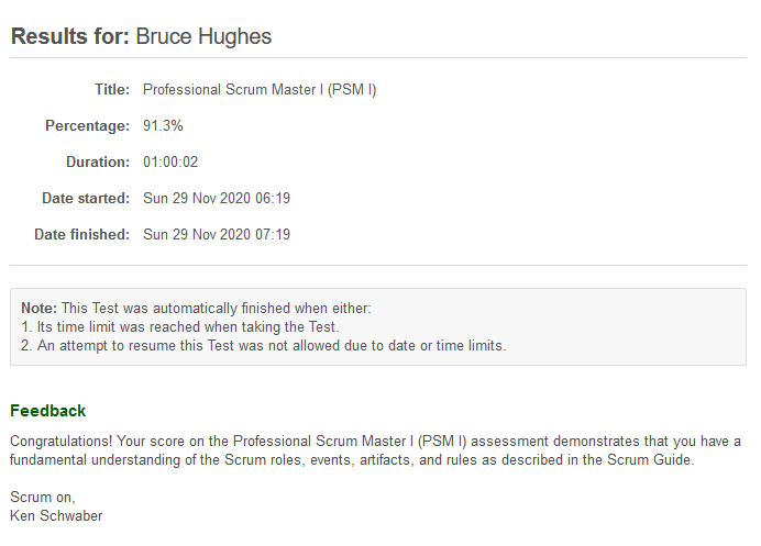 Screenshot of the finishing page of the test, showing results for Bruce Hughes with a passing percentage of 91.3%