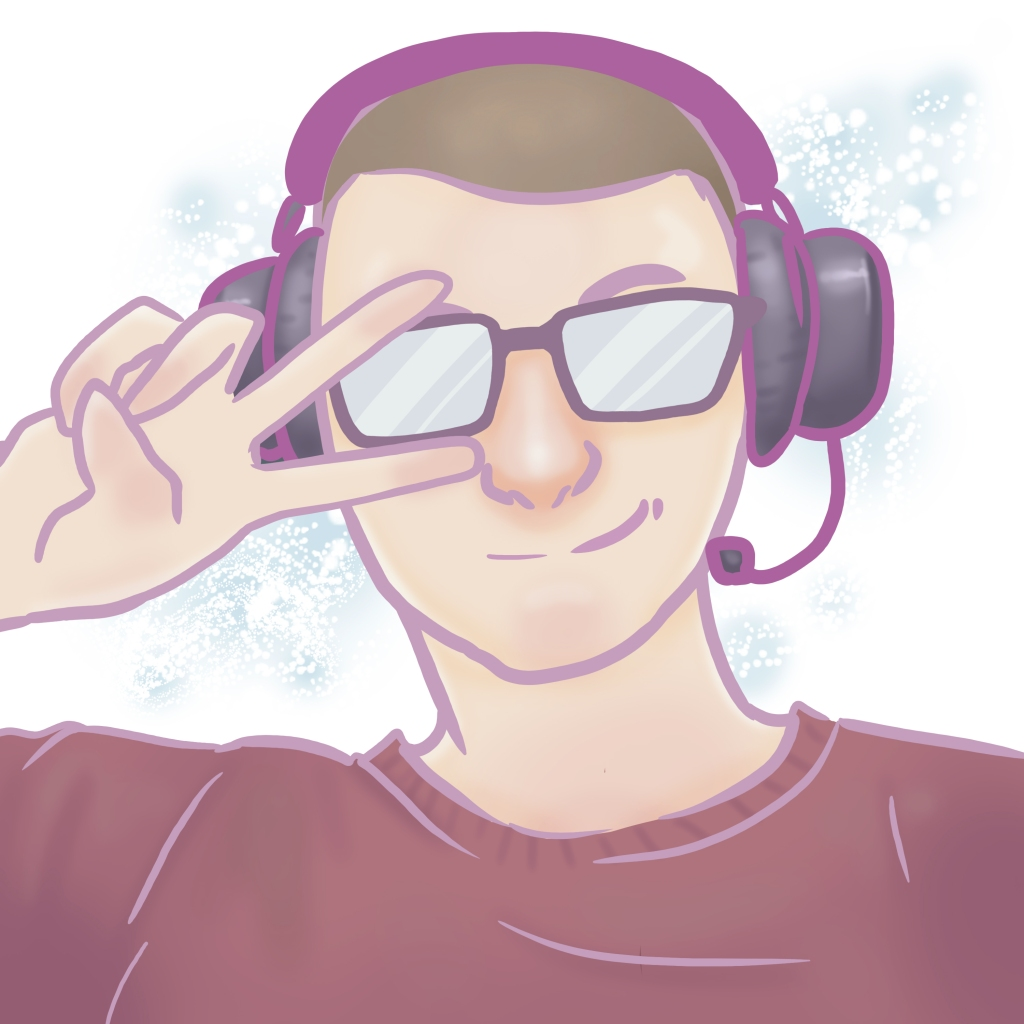 Drawing of Chris Armstrong wearing a headset and making the peace sign over one eye