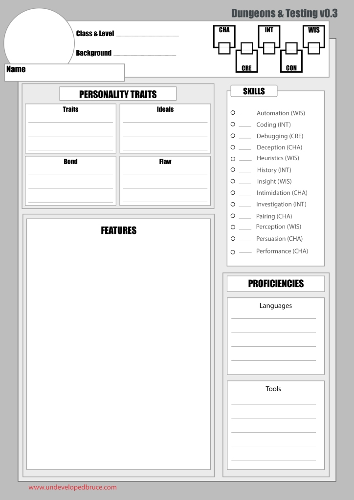 Template for the Dungeons and Testing character sheet. The sections are described in the text of this page.