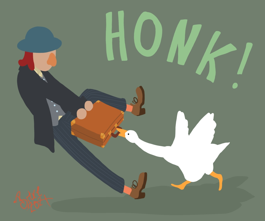 The final image of a businessman pulling his briefcase out of a goose's mouth. A green background has been added.