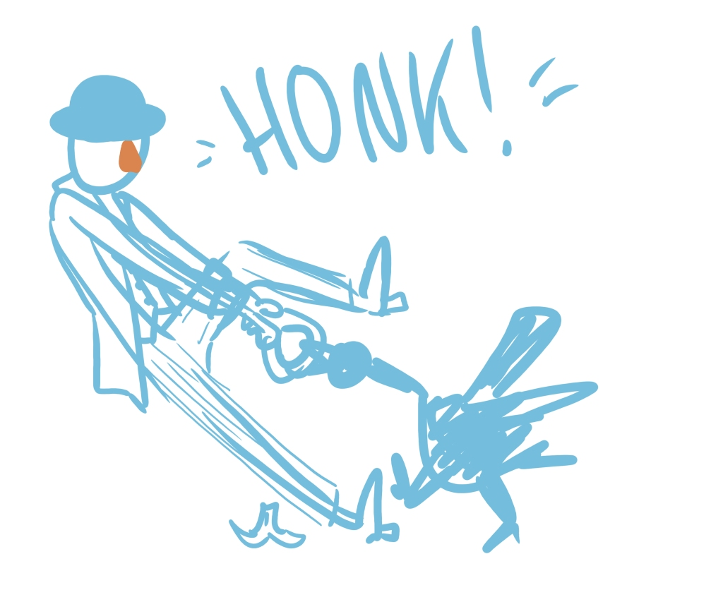 """Sketch in light blue of a businessman in a bowler hat struggling to pull something out of the mouth of a goose. There is a banana peel on the floor behind him, and the word """"honk"""" is written above."""