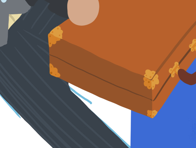 A close up shot of the businessman's briefcase. It is brown, and has gold hinges and gold corner protectors with a scalloped design.
