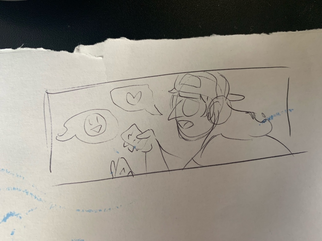 Sketch of a header image depicting Bruce holding sticky notes. It is drawn on a scrap piece of paper with torn edges.