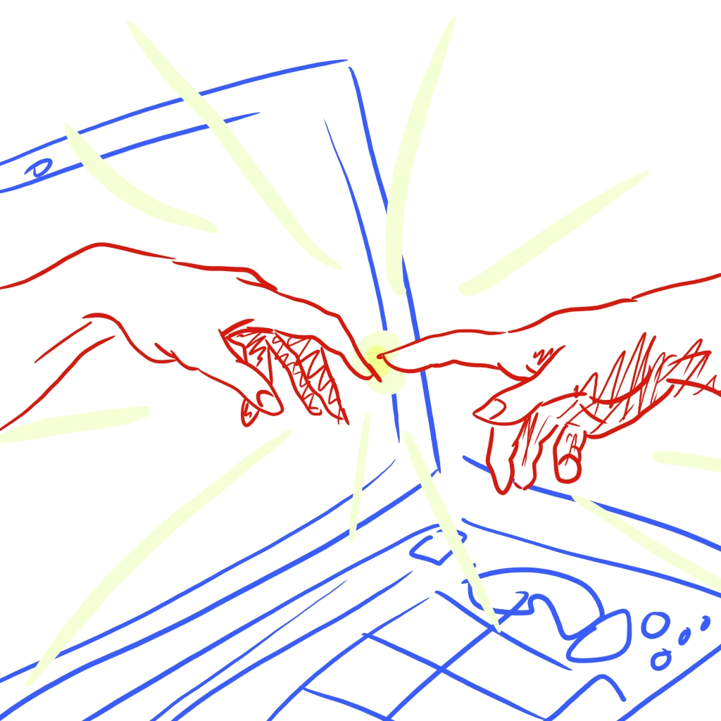 Square-aspect sketch parodying Michelangelo's painting of the creation of Adam, where Adam's hand is reaching out of a laptop screen to God.