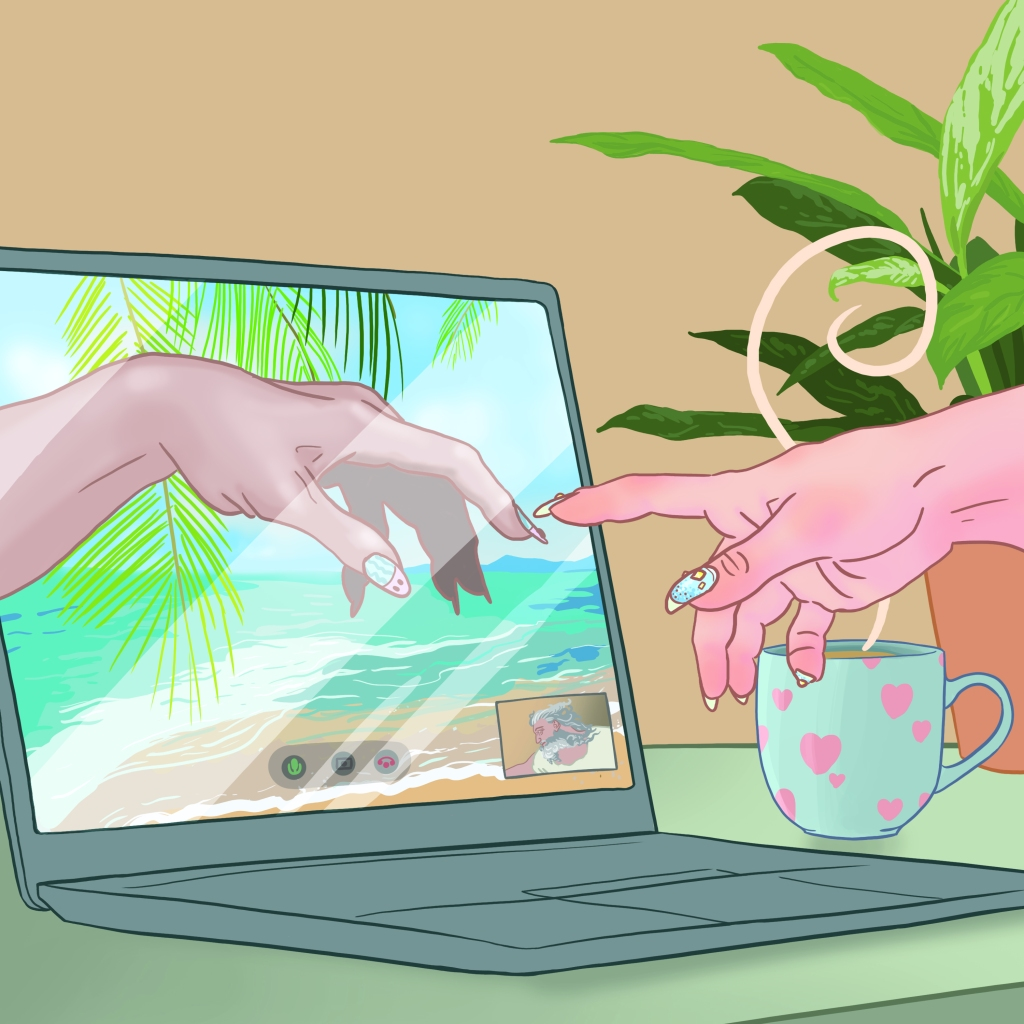 Completed drawing of God's video call. God and Adam both have pretty nails, and there is a mug and a potted plant on God's desk, while Adam seems to be dialling in from a tropical island.