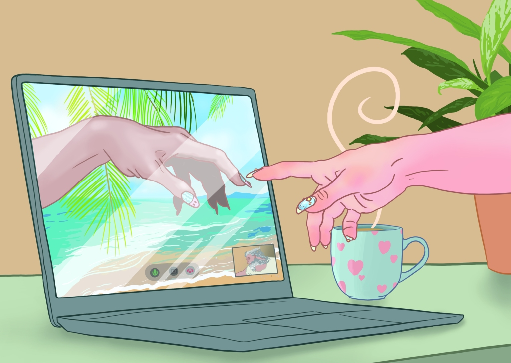 A wider version of the creation of Adam video call. The potted plant has been moved, and more desk can be seen.