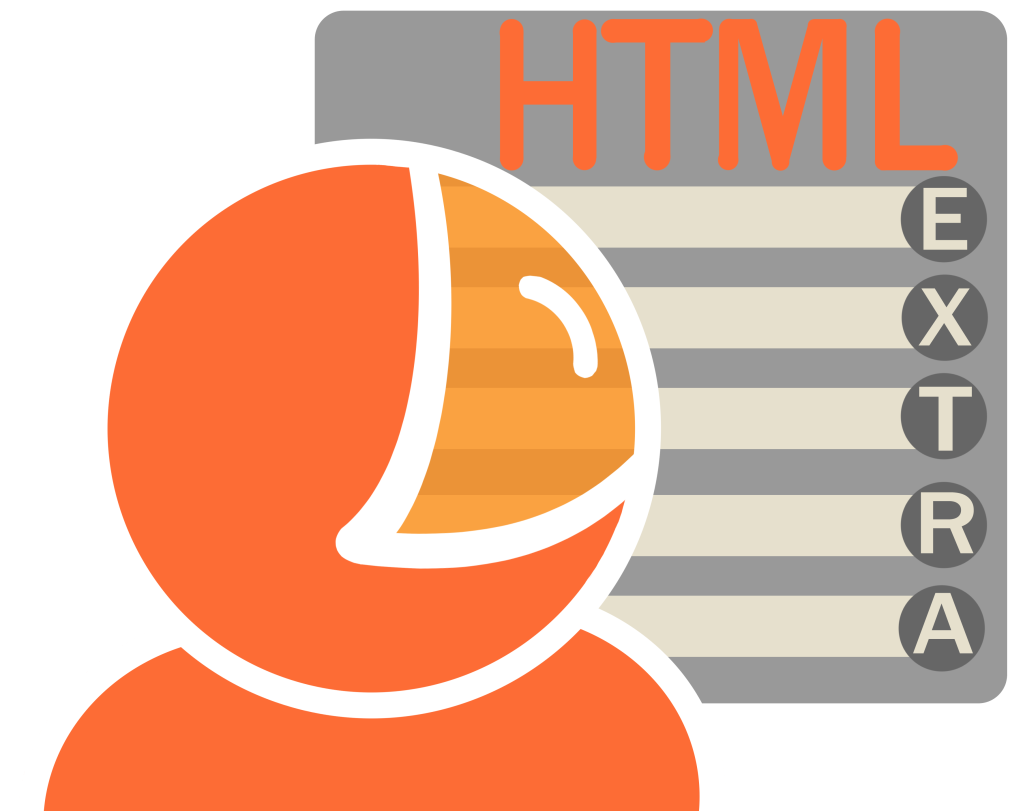 Later version of the logo for Danny. It shows an orange head with shoulders wearing a curved visors, which is looking at a grey report titled HTML extra. The text is orange and grey, and looks really bad, trust me.