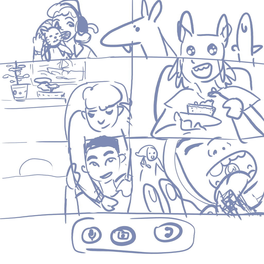 Sketched image of six people in a video call, interacting in ways that are impossible on camera. A dog in the top panel is leaning into another panel with a disgruntled cat in it. Someone in the middle is hugging the person in the panel below them. Another person is eating cake, while the last is licking their camera.