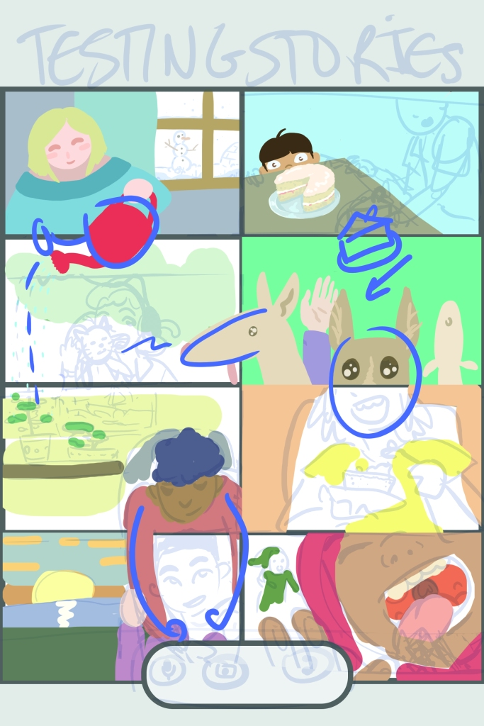 A taller version of the video call image. Two extra panels have been added, featuring a woman watering the plants of the person two panels below her, as well as a person handing out cake. The image has colours added, and interactions between panels are highlighted in blue.